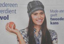 Vrouw met appel - voorpagina modebijlage Reformatorisch Dagblad