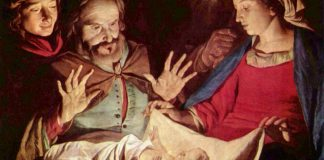 De aanbidden van Jezus door de herders (Gerard van Honthorst)